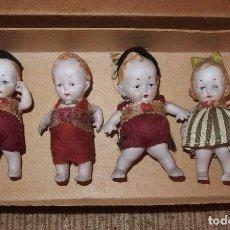 Muñecas Porcelana: 4 MUÑECOS DE BISCUIT,GERMANY,EN CAJA ORIGINAL,AÑOS 20. Lote 131096444