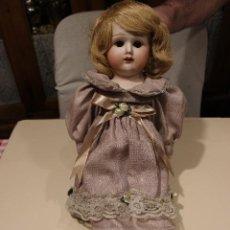 Muñecas Porcelana: MUÑECA DE PORCELANA ANTIGUA CON CUERPO DE PIEL. Lote 133761582
