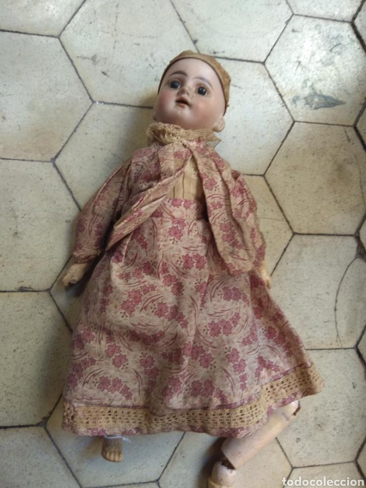 PRECIOSA MUÑECA CABEZA DE PORCELANA CUERPO DE MADERA (Juguetes - Muñeca Extranjera Antigua - Porcelana Alemana)