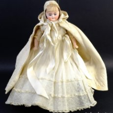 Muñecas Porcelana: MUÑCA ANTIGUA ALEMANA CABEZA EN PORCELANA-CON SONIDO DE LLANTO AL TIRAR DE LA CUERDA-P.S.XX-30 CM. Lote 154852898