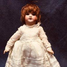 Muñecas Porcelana: MUÑECA CABEZA PORCELANA NO MARCA CUERPO COMPOSICION VESTIDO BOCA ABIERTA OJOS GRANDES 28CMS. Lote 180420340