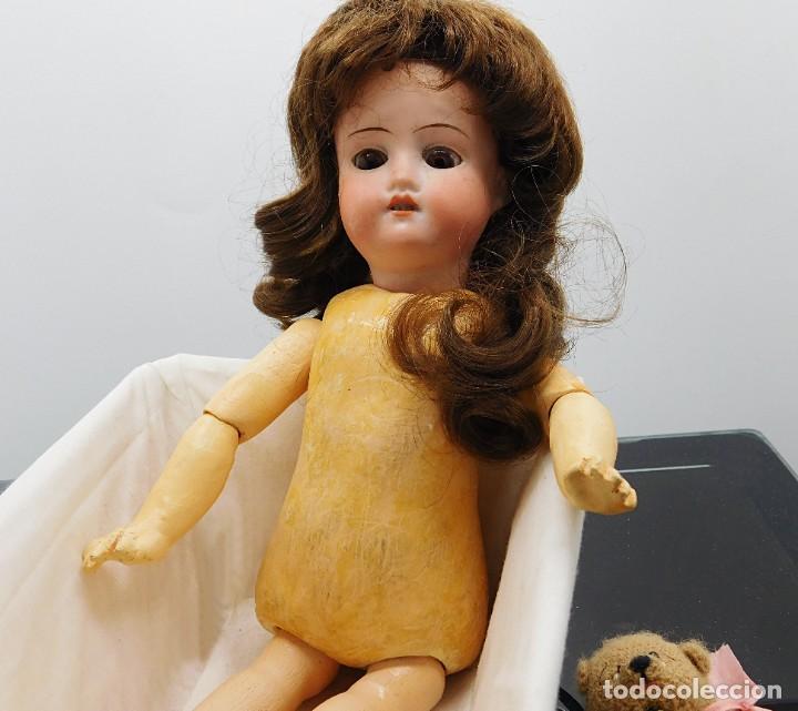 Muñecas Porcelana: C1890 - ANTIGUA MUÑECA ARTICULADA CON PELO NATURAL - MARCAS EN NUCA - ALEMANIA - VER FOTOS - Foto 18 - 194929052