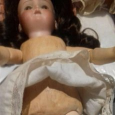 Muñecas Porcelana: C1890 - ANTIGUA MUÑECA ARTICULADA: PELO NATURAL / VESTIDOS / OSITO - MARCAS EN NUCA - ALEMANIA - VER. Lote 194929052
