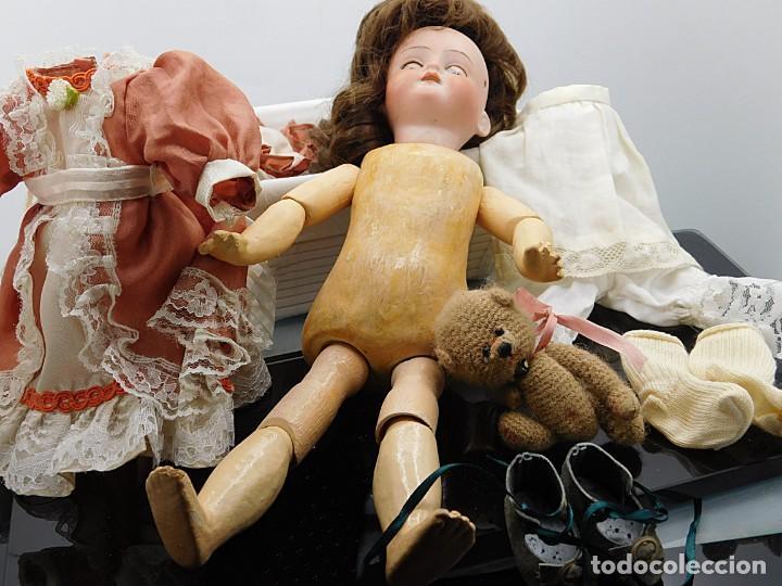 Muñecas Porcelana: C1890 - ANTIGUA MUÑECA ARTICULADA CON PELO NATURAL - MARCAS EN NUCA - ALEMANIA - VER FOTOS - Foto 28 - 194929052