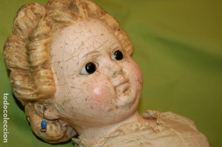 ANTIGUA MUÑECA COMPO -CERA DE 1830-1860 (Juguetes - Muñeca Extranjera Antigua - Porcelana Alemana)