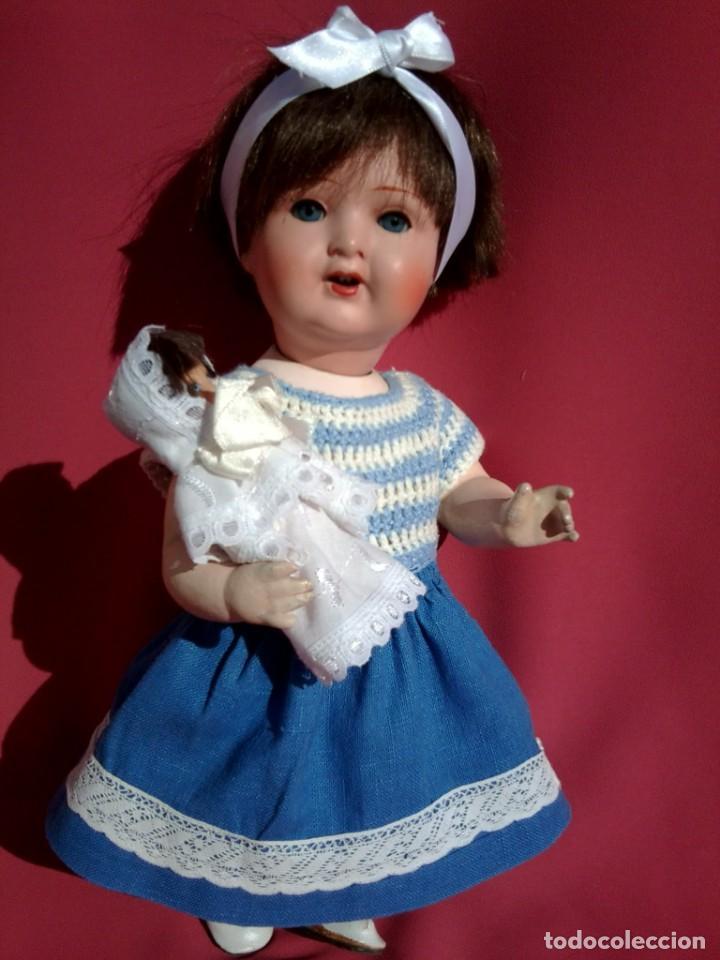 MUÑECA DE PORCELANA ALEMANA MARCA KWG (Juguetes - Muñeca Extranjera Antigua - Porcelana Alemana)