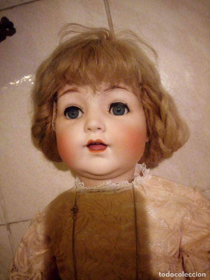 ANTIGUA MUÑECA MADE IN GERMANY 18/10,CABEZA DE PORCELANA BISCUIT,CUERPO DE MADERA ARTICULADO. (Juguetes - Muñeca Extranjera Antigua - Porcelana Alemana)