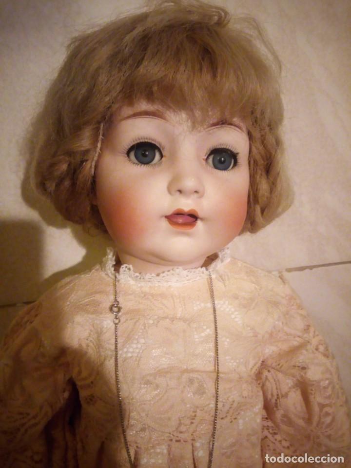 Muñecas Porcelana: Antigua muñeca made in germany 18/10,cabeza de porcelana biscuit,cuerpo de madera articulado. - Foto 2 - 222953772