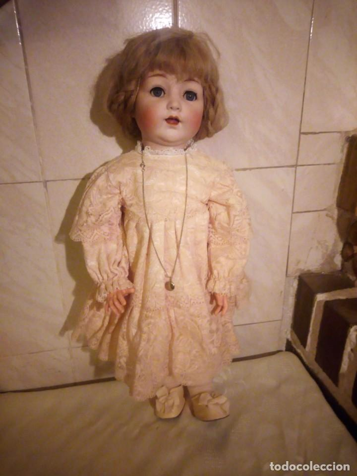 Muñecas Porcelana: Antigua muñeca made in germany 18/10,cabeza de porcelana biscuit,cuerpo de madera articulado. - Foto 3 - 222953772