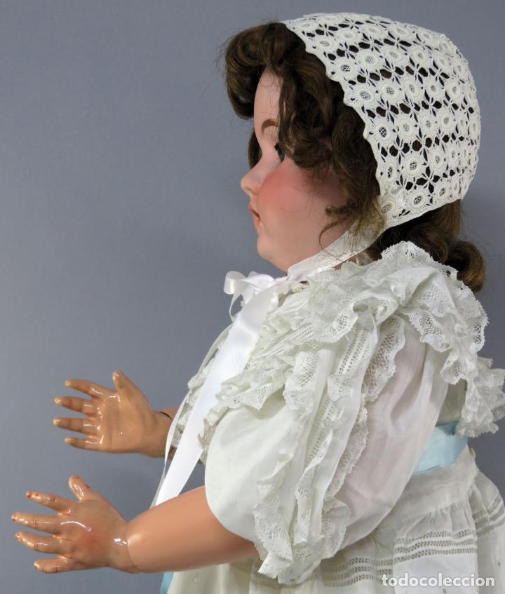 Muñecas Porcelana: Muñeca cabeza porcelana cuerpo madera articulado marca nuca 444 16 ojo durmiente 80 cm alto - Foto 6 - 223485392