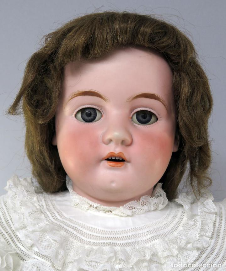 Muñecas Porcelana: Muñeca cabeza porcelana cuerpo madera articulado marca nuca 444 16 ojo durmiente 80 cm alto - Foto 11 - 223485392