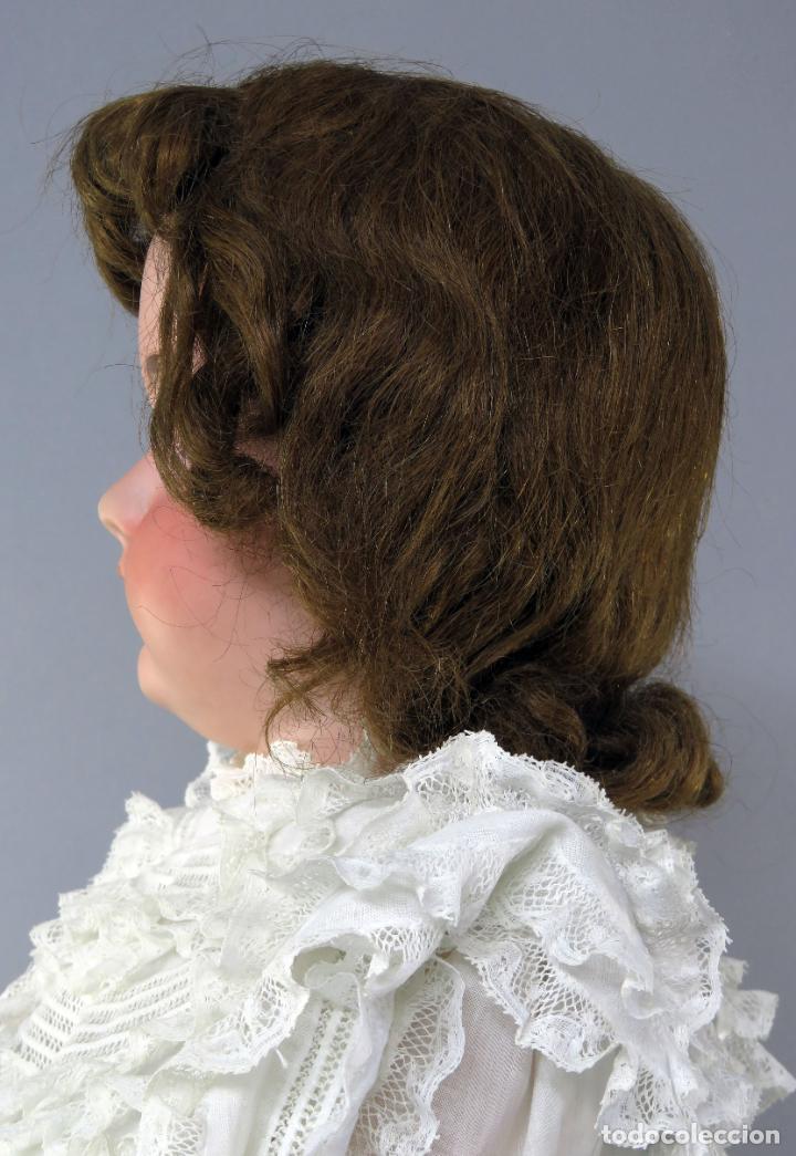 Muñecas Porcelana: Muñeca cabeza porcelana cuerpo madera articulado marca nuca 444 16 ojo durmiente 80 cm alto - Foto 12 - 223485392