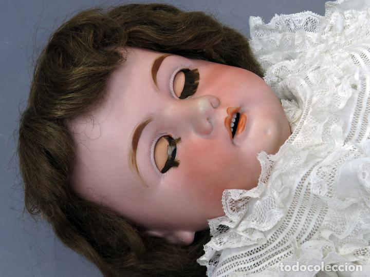 Muñecas Porcelana: Muñeca cabeza porcelana cuerpo madera articulado marca nuca 444 16 ojo durmiente 80 cm alto - Foto 15 - 223485392
