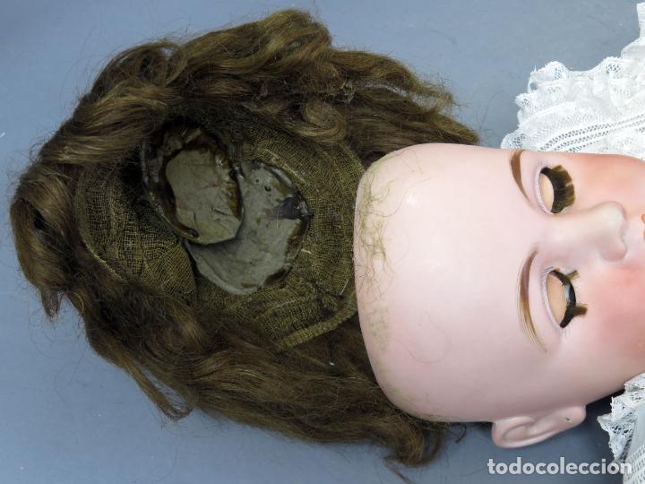 Muñecas Porcelana: Muñeca cabeza porcelana cuerpo madera articulado marca nuca 444 16 ojo durmiente 80 cm alto - Foto 16 - 223485392