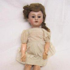 Muñecas Porcelana: MUÑECA DEP Nº7 PORCELANA, ARTICULADA PELO NATURAL, VESTIDO ORIGINAL SIGLO XIX. Lote 223843488