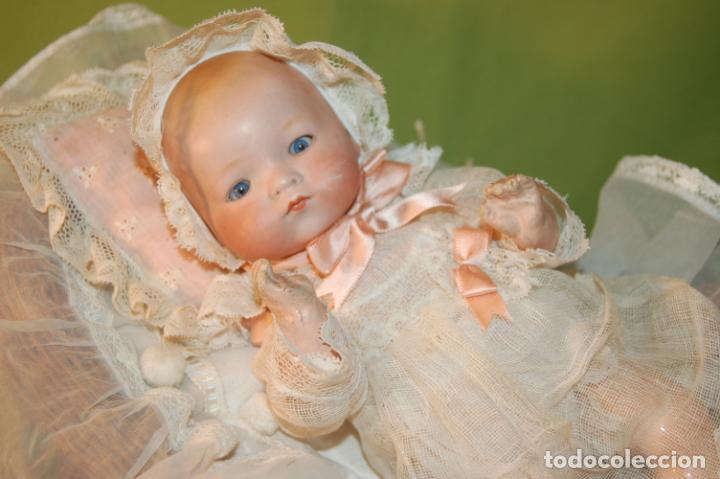 BABY DREAM ARMAND MARSEILLE BOCA CERRADA Y COCHECITO (Juguetes - Muñeca Extranjera Antigua - Porcelana Alemana)