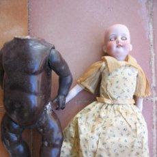 Bambole Porcellana: DOS MUÑECAS ANTIGUAS DECADA DE 1910 PORCELANA BISQUE ARMAND MARSEILLE REPARACION. Lote 234706290