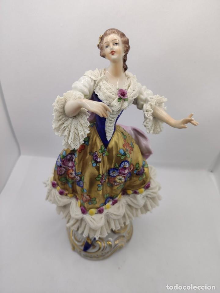 PORCELANA ALEMANA DRESDEN VOLKSTEDT FACTORY PORCELAIN ( MEISSEN CAPODIMONTE ) (Juguetes - Muñeca Extranjera Antigua - Porcelana Alemana)