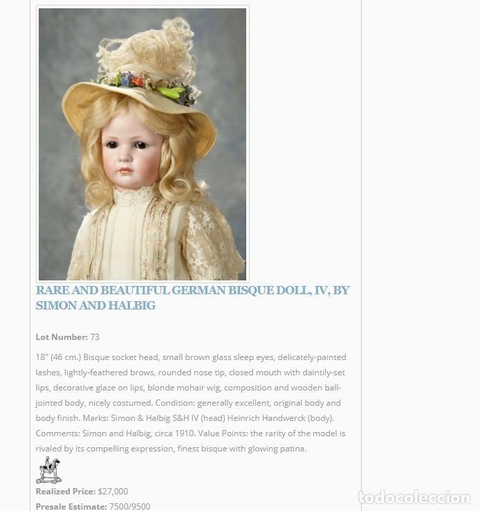 Muñecas Porcelana: RAREZA - SIMON & HALBIG - ANTIGUA Y EXCEPCIONAL CABEZA DE MUÑECA ALEMANA - Nº IV - CIRCA 1910-1912 - Foto 27 - 242140590