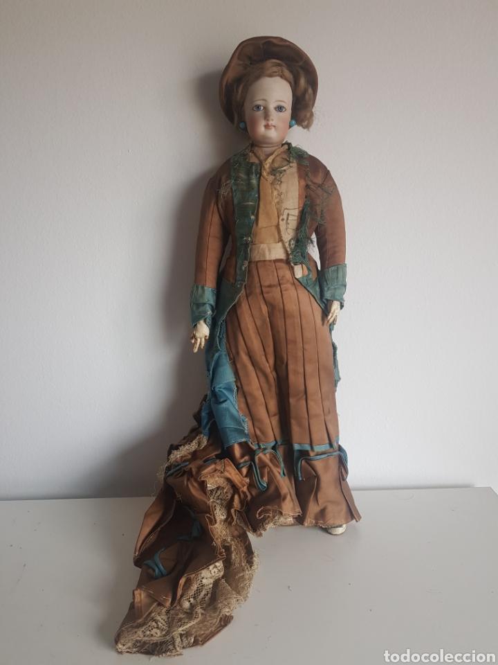 ANTIGUA MUÑECA PORCELANA OJOS DE CRISTAL GRAN ESTADO Y ORIGINAM 45 CM (Juguetes - Muñeca Extranjera Antigua - Porcelana Alemana)