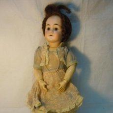 Muñecas Porcelana: MUÑECA CABEZA PORCELANA Y CUERPO MADERA Y COMPOSICION CON MARCA ANCLA LC. 45 CM ALTURA. Lote 41472563