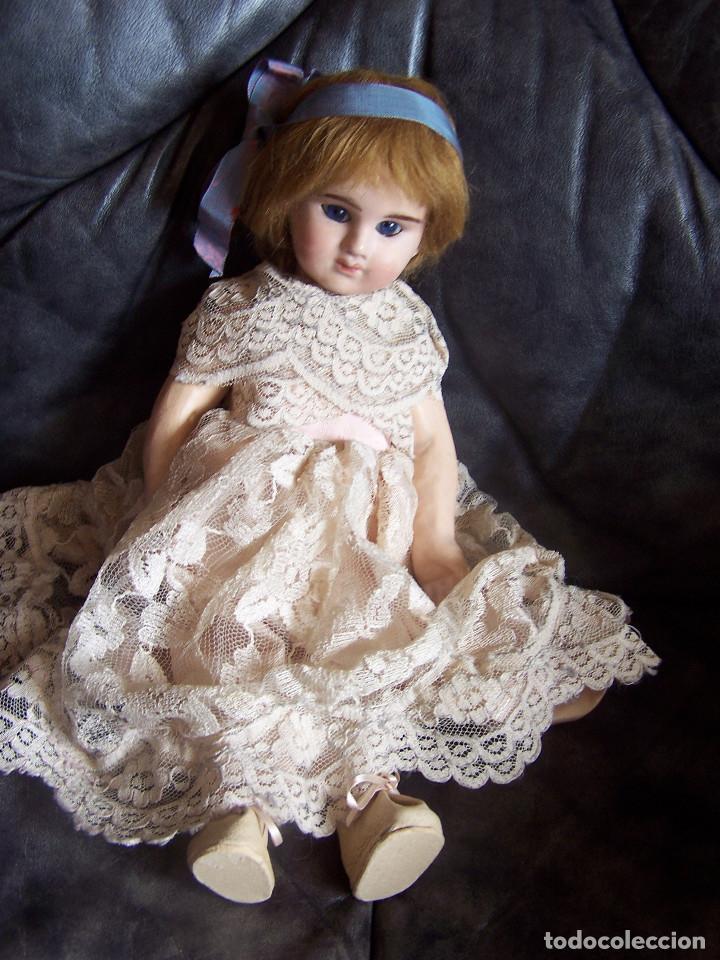 Muñecas Porcelana: Muñeca francesa Etienne Denamur. 1889. Cabeza de porcelana con boquita cerrada, cuerpo de cartón - Foto 2 - 76022483