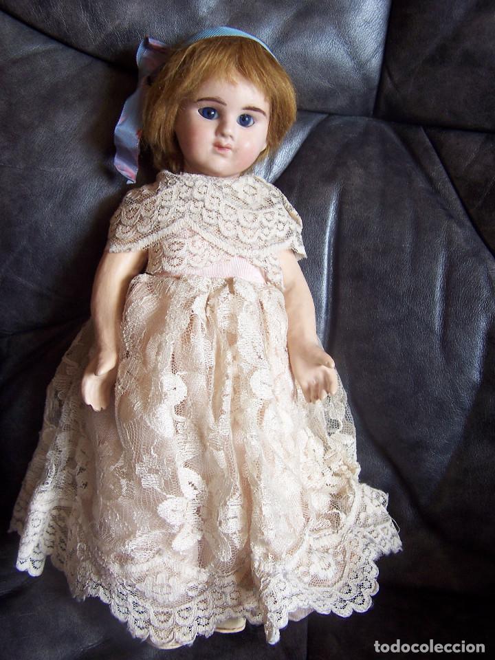 Muñecas Porcelana: Muñeca francesa Etienne Denamur. 1889. Cabeza de porcelana con boquita cerrada, cuerpo de cartón - Foto 3 - 76022483