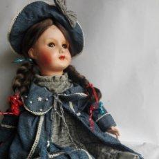 Muñecas Porcelana: ANTIGUA MUÑECA DE CARTON PIEDRA CON CARA DE PORCELANA. Lote 140208640