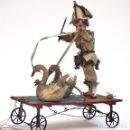 Muñecas Porcelana: IMPRESIONANTE ANTIGUO AUTOMATA FRANCES EL DOMADOR DE GANSOS SIGLO XIX. Lote 148042458