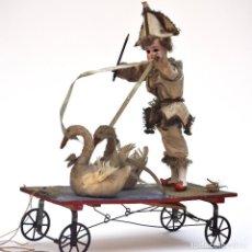 Muñecas Porcelana - IMPRESIONANTE ANTIGUO AUTOMATA FRANCES EL DOMADOR DE GANSOS SIGLO XIX - 148042458