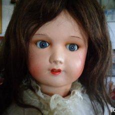 Muñecas Porcelana: HERMOSA MUÑECA DE PORCELANA OJOS FLIRTY, CREO QUE LAS PIERNAS SON RESTAURADAS 70 CTMS. MARCADA PARIS. Lote 166530006