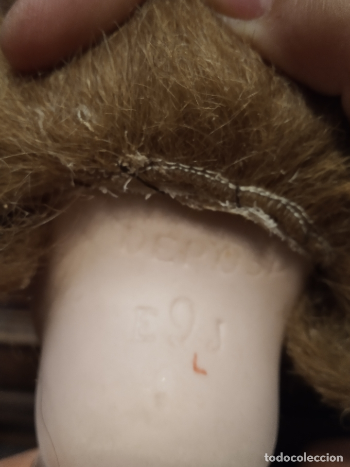 Muñecas Porcelana: Preciosa muñeca francesa de la casa Jumeau. Depose. E9J. Talla 9. Cuerpo de cartón. Ojos azules. - Foto 14 - 182715390