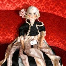 Muñecas Porcelana: MUÑECA POUPPE BOUDOIR, DE TOCADOR O DE CAMA, VESTIDO DE SEDA. Lote 182783841