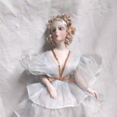 Muñecas Porcelana: MUÑECA BISCUIT VESTIDO DE GASA AÑOS 30, PELO MOHAIR, BRAZOS ARTICULADOS. MED. 34 CM. Lote 191325398