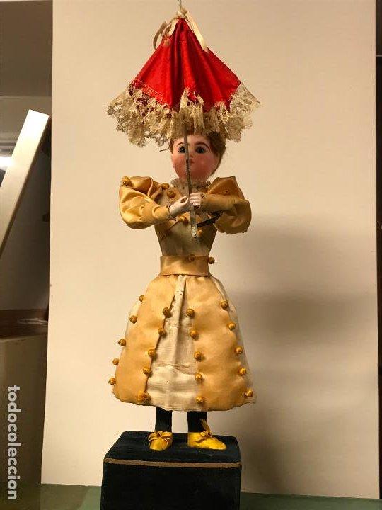 AUTÓMATA S. XIX - MUÑECA FRANCESA - MOVIMIENTO DE APERTURA PARAGUAS (Juguetes - Muñeca Extranjera Antigua - Porcelana Francesa)