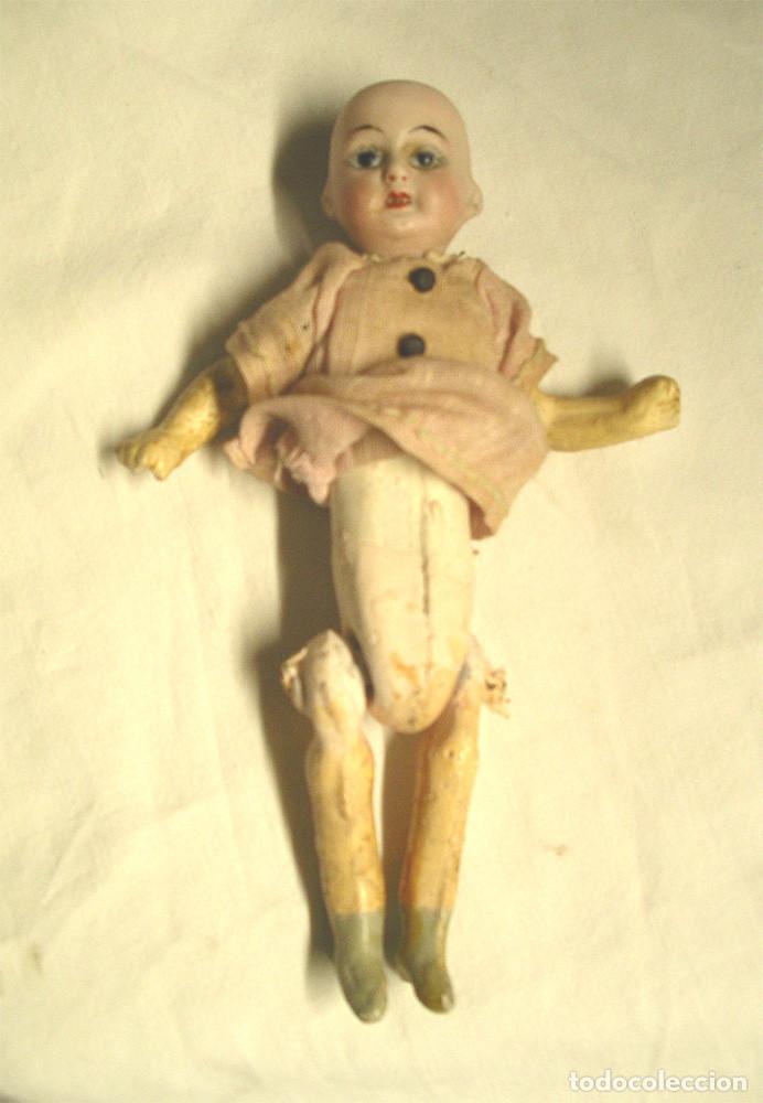 Muñecas Porcelana: Muñeca Cabeza porcelana Cuerpo composición Circa 1900. Altura 16 cm - Foto 3 - 198391127