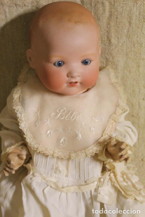 Muñecas Porcelana: Muñeco bebé de cara de porcelana.Cuerpo cartón piedra.Fdo AM.Armand Marseille.Alemania.S XIX-XX. - Foto 11 - 220560007