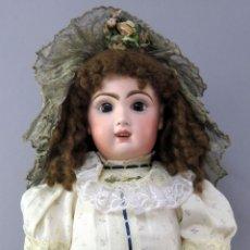 Bambole Porcellana: MUÑECA JUMEAU SIN MARCA CABEZA PORCELANA CUERPO MADERA ARTICULADO PELUCA SOMBRERO ROPA 55 CM. Lote 223240582