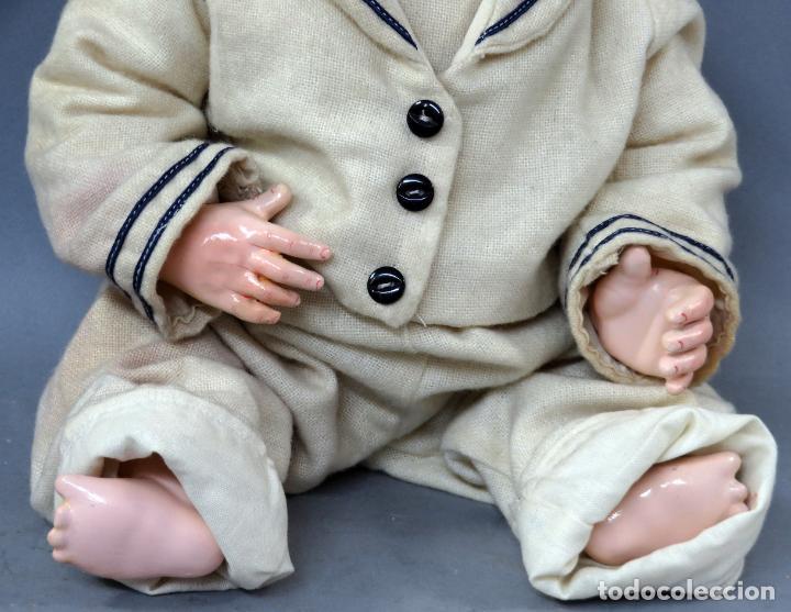 Muñecas Porcelana: Bebé SFBJ 236 París 8 cabeza porcelana marca nuca cuerpo composición vestido marinero 36 cm alto - Foto 3 - 223487190