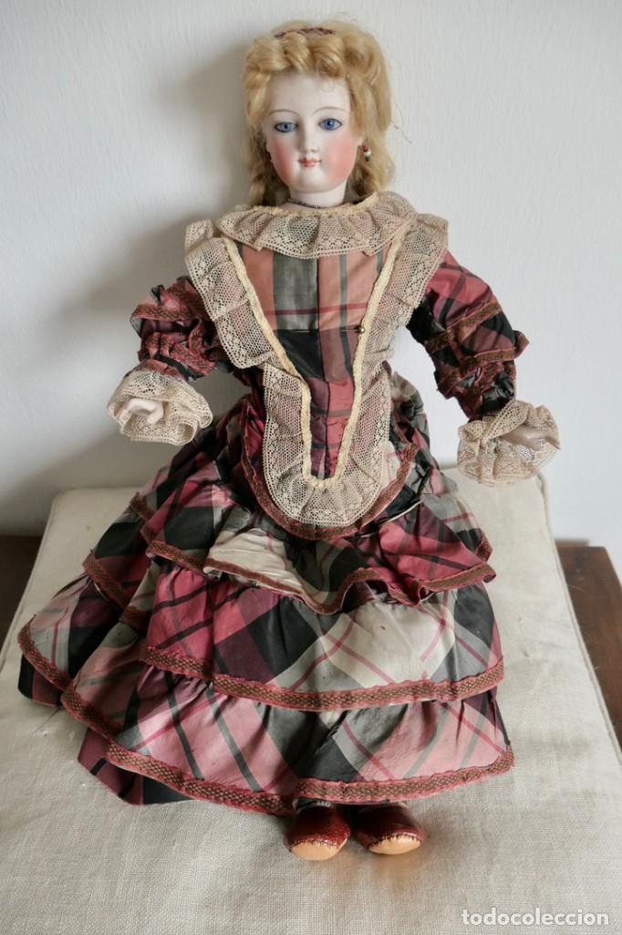 ANTIGUA MUÑECA FASHION LADY-CUERPO DE PIEL BRAZOS DE PORCELANA- ROPA ORIGINAL-42 CM (Juguetes - Muñeca Extranjera Antigua - Porcelana Francesa)
