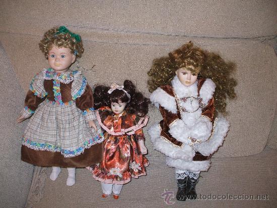 LOTE DE 3MUÑECAS DE PORCELANA AÑOS 80 ( NO SON MADE IN CHINA ) (Juguetes - Muñeca Extranjera Moderna - Porcelana)