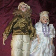 Muñecas Porcelana: 2 MUÑECAS DECORACION ANTIGUAS PORCELANA. Lote 32080118
