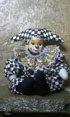 Muñecas Porcelana: Muñeca arlequin de Porcelana.Cuerpo de relleno. - Foto 2 - 32183618