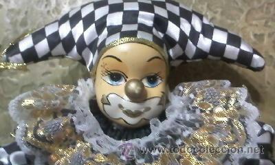Muñecas Porcelana: Muñeca arlequin de Porcelana.Cuerpo de relleno. - Foto 3 - 32183618
