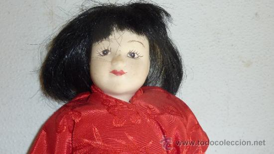 Muñecas Porcelana: Antigua muñeca de terracota oriental, sin marcas aparentes, años 60 - Foto 2 - 33642466