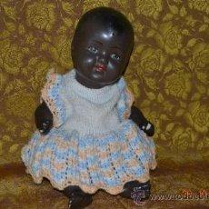 Muñecas Porcelana: RARO INUSUAL BEBE DE CARACTER NEGRO,CABEZA DE BISCUIT DE LA MARCA DURA. Lote 33983793