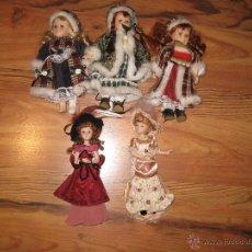 Muñecas Porcelana - Lote 5 muñecas de porcelana, vestidas - altura 19-20 cm. - 41601466