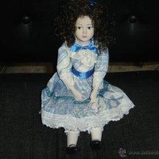 Muñecas Porcelana: MUÑECA DE PORCELANA. AÑOS 80. IMPECABLE. 36 CTS. DE ALTURA. VESTIDO CON ENCAJES. Lote 42557819
