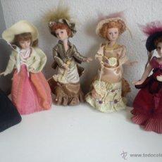 Muñecas Porcelana: ANTIGUA Y MUY PRECIOSA COLECION DE 5 MONECAS DE PORCELANA ARTICULADAS LAS ROPAS ORIGINALES ANOS 40,. Lote 42781389