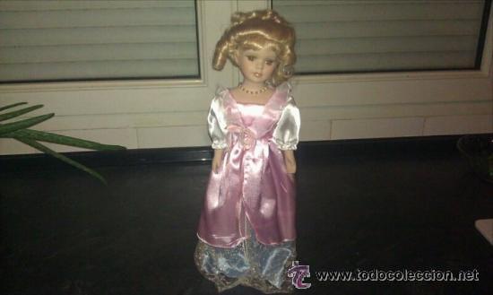 PRECIOSA MUÑECA DE PORCELANA DE 42 CM. CON VESTIDO LARGO ROSA (Juguetes - Muñeca Extranjera Moderna - Porcelana)